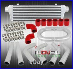 Turbo Racing Jdm Aluminum Intercooler + 2.5 Piping Kit Starter Set Red Couplers
